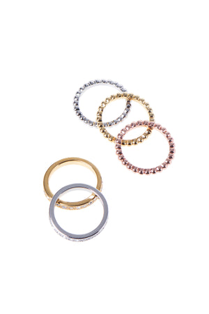 Tri-color Ring Set-Gold/Silver