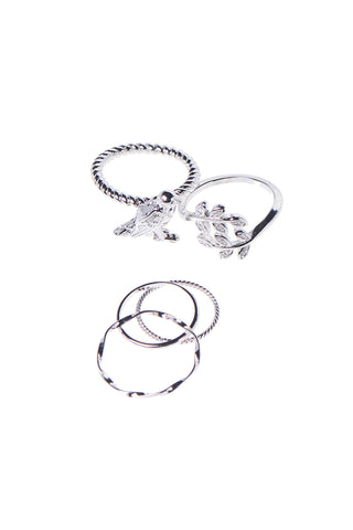 Bird Ring Set of 5-Silver