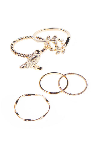 Bird Ring Set of 5-Gold