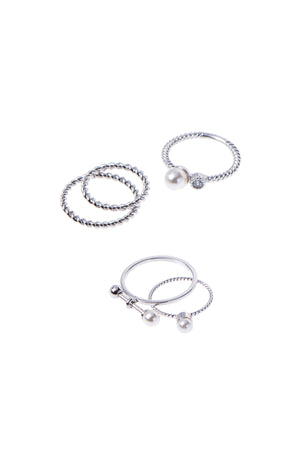Pearl Twisted Ring Set of 5-Silver