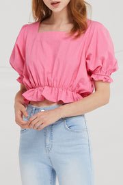 Charlee Linen Puff Sleeve Top
