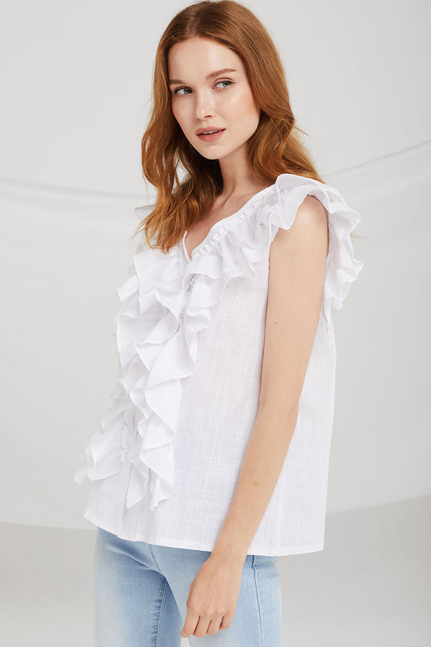Maggie Tiered Ruffle Sleeveless Top
