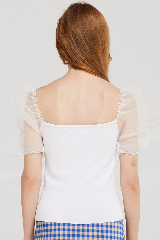 storets.com Freya Sheer Puff Sleeve Top