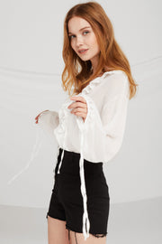 Giselle Sheer Ruffle-Trim Crop Blouse