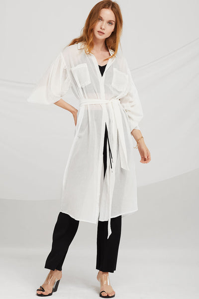 Miriam Gauze Shirt Dress w/Belt