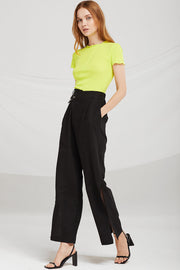 Haley Asymmetric Waistband Pants w/Slit