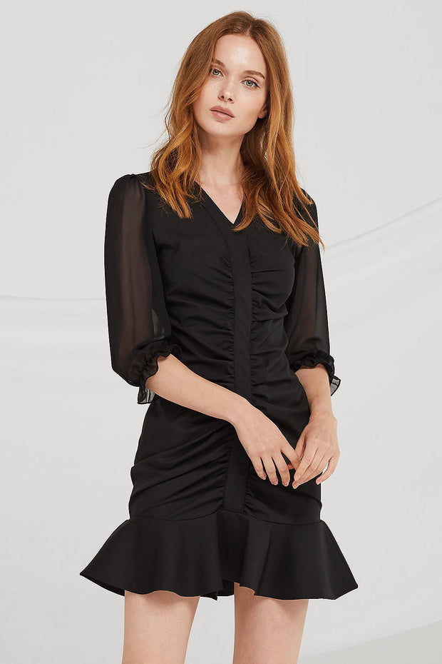 June Ruched Chiffon Dress