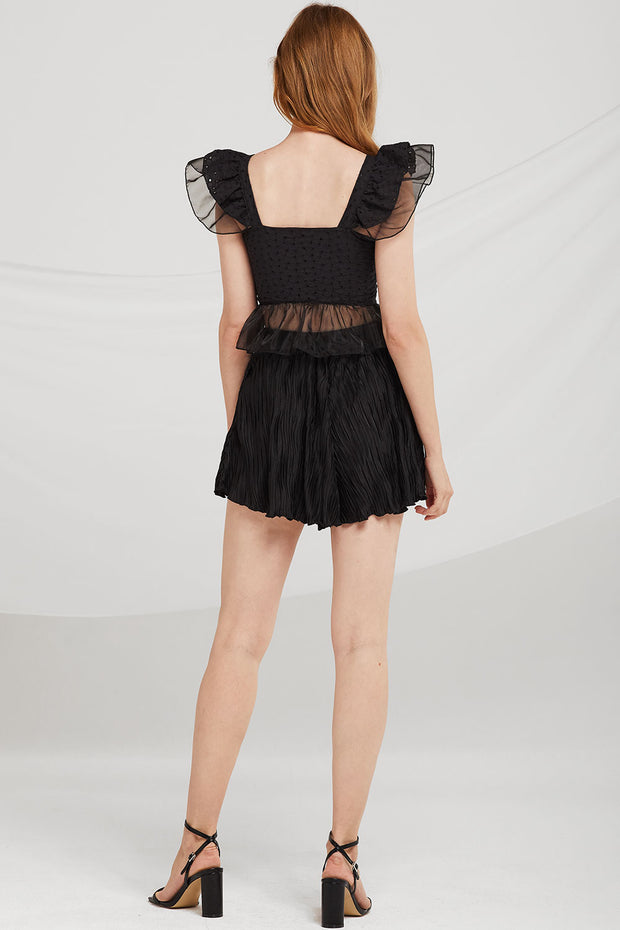 Kaitlyn Crinkle Pleated Mini Skort