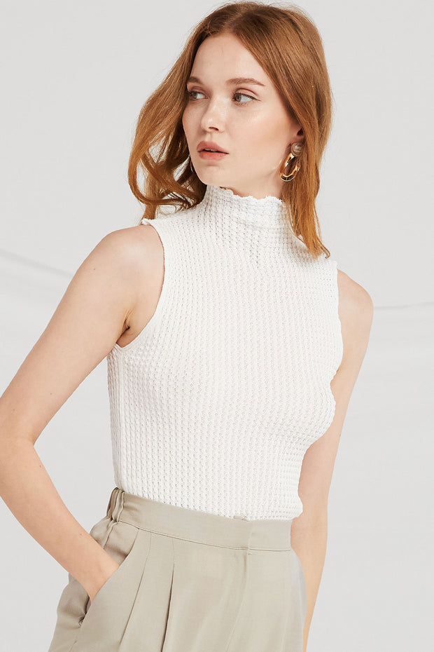 Paris High-Neck Sleeveless Knit Top