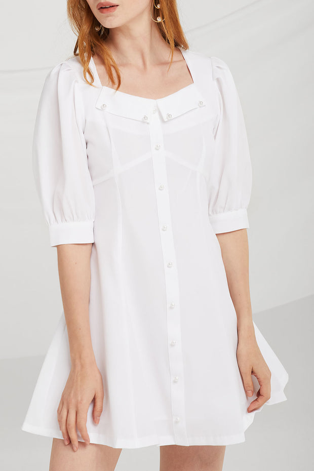 Kenzie Pearl Button Front Dress