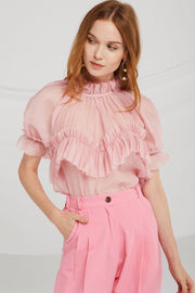 storets.com Kamila Pleated Ruffle Trim Blouse