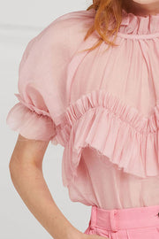 Kamila Pleated Ruffle Trim Blouse