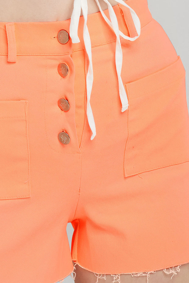 Saylor High Waisted Raw Hem Shorts
