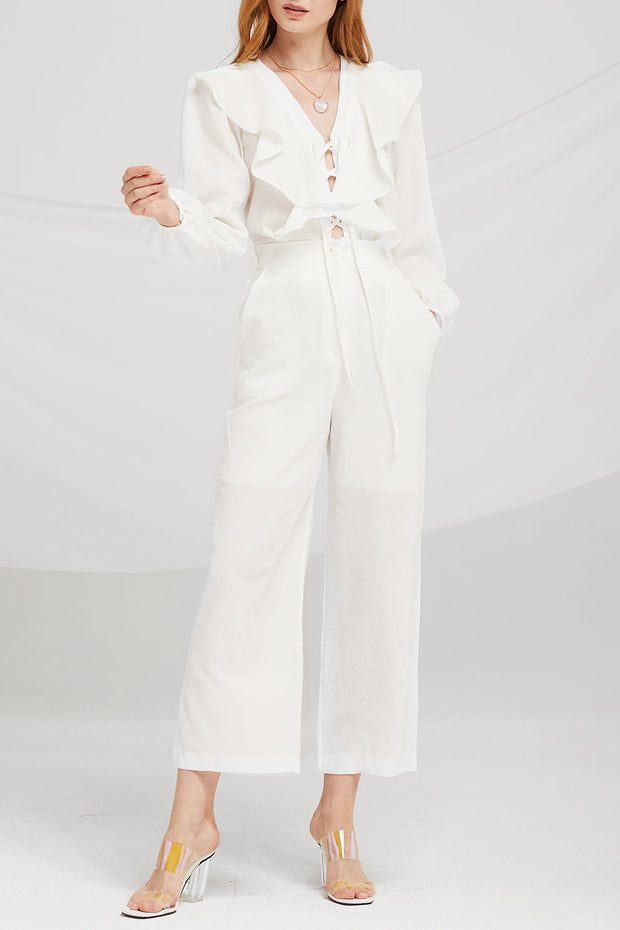 Marley Ruffle Blouse Pants Suits