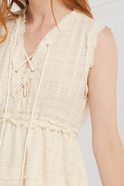 Brynlee Eyelet Lace Up Dress