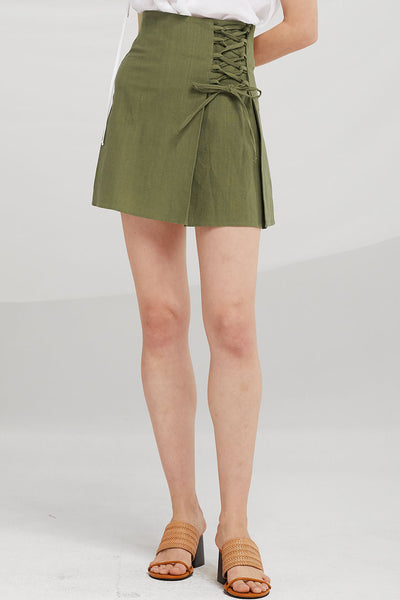 Maci Asymmetric Lace-Up Skirt
