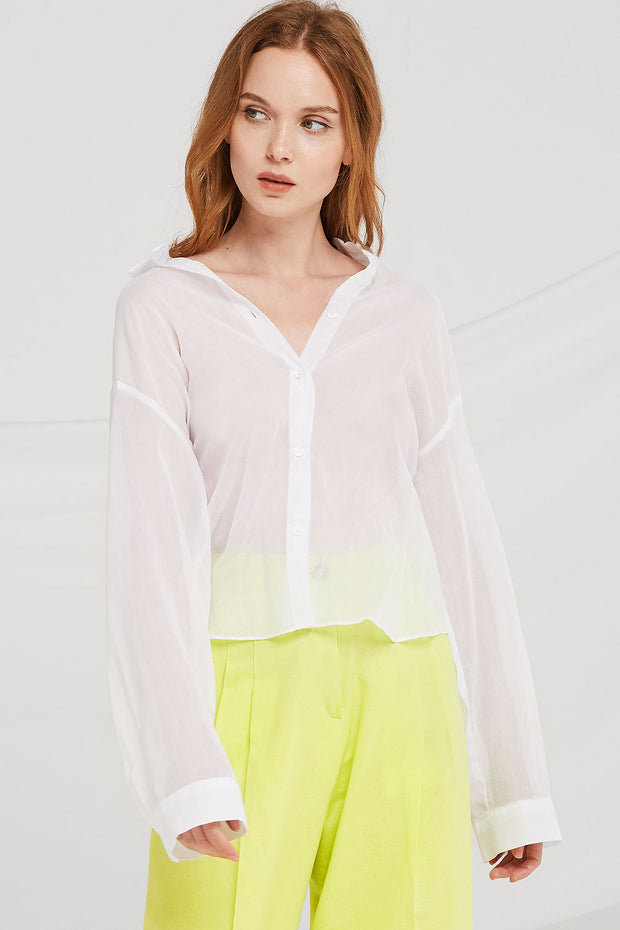 storets.com Millie Back-Slit Sheer Shirt