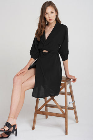 Lydia Bust Wrap Mini Dress-Black