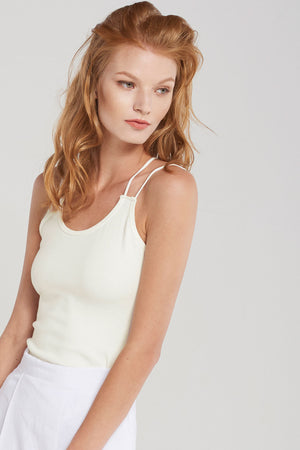 Basic X String Strap Singlet Top-Ivory