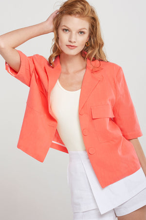 Ariana Button Full Linen Jacket-Orange