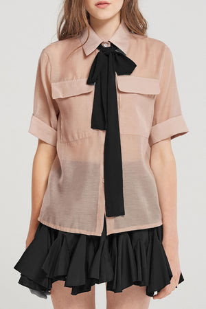 Celia Black Ribbon Short Sleeve Shirt-Beige