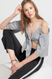Leia Front Ribbon-tie Tank Blouse-Black