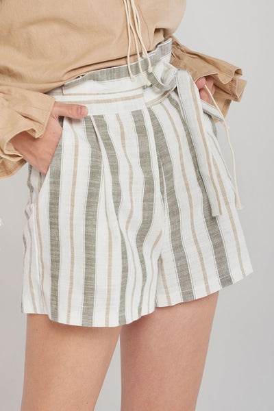 Miley Mild Color Striped Shorts-Green