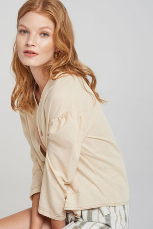 Clarice Delicate Button-up Jacket-Beige