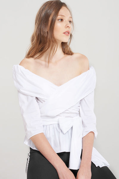 Amelia Cross-over Shirred Blouse-Ivory