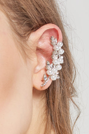 Pearl Helix Cuff Earrings -Silver
