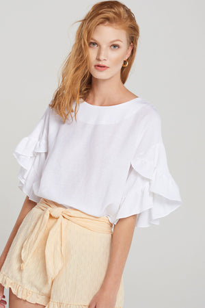 Clare Tiered Ruffle Sleeve Blouse-White
