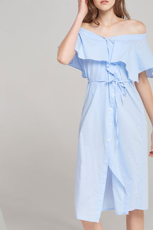 Lynn Off Shoulder Shirt Dress-Skyblue