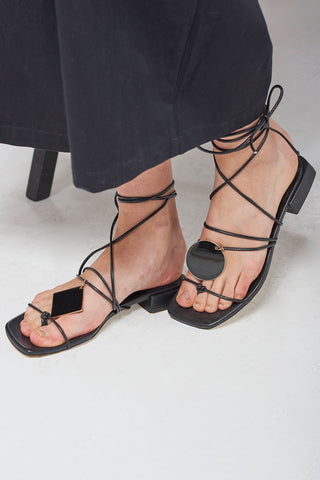 Black Moon Strappy Sandals-Black