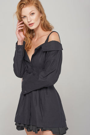 Taylor Open Collar Jacket-Black