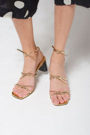 storets.com Heeled Tied-up Strap Sandals-Gold