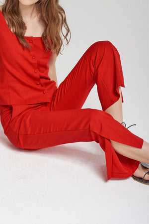 Alice Bootcut Slit Pants-Red