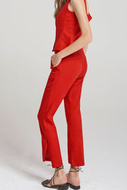storets.com Alice Bootcut Slit Pants-Red