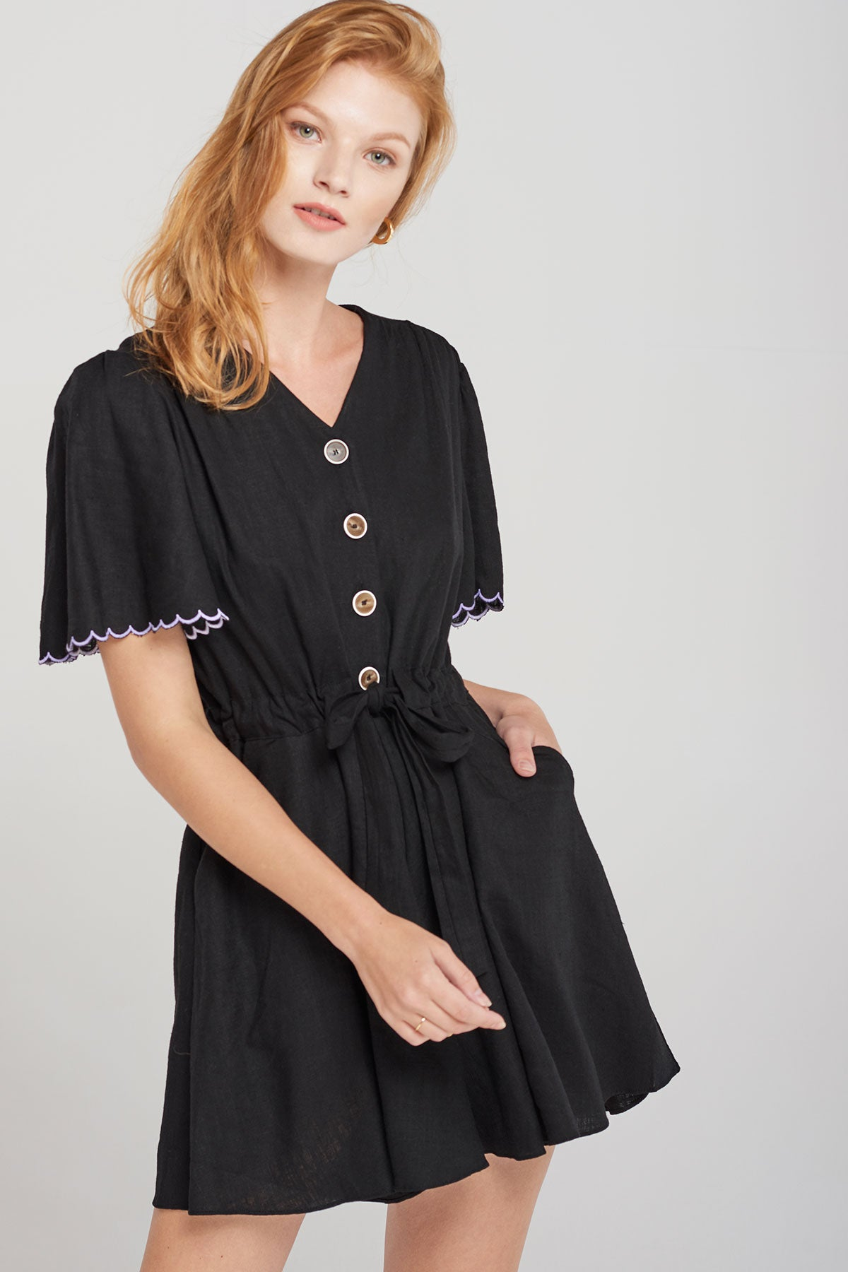 Carrie Scallop Sleeve Romper-Black