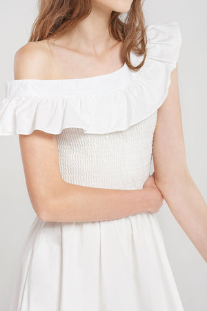 Faith Shirred Off Shoulder Frill Dress-White