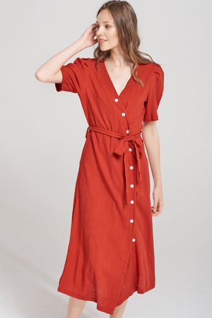 Ariel Angled Button Linen Dress-Red