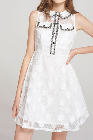 Susan Polka Lace Sleeveless Dress-White