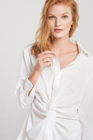 Mackenzie Shirred Body Shirt-White