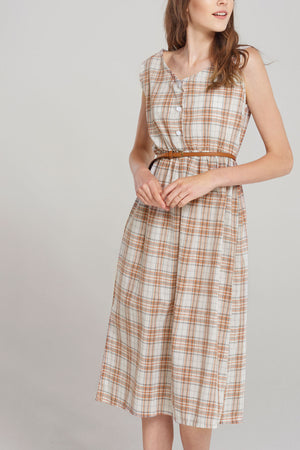 Hadlee Check Sleeveless Belt Dress-Beige