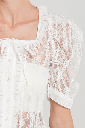 Sharon Square Neck Lace Blouse-Ivory