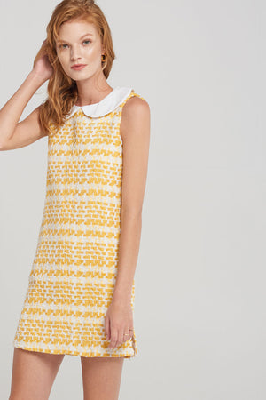 Katie White Collar Tweed Dress-Yellow