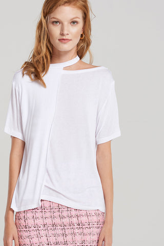 Basic Neck Loop Layer T-shirt-White