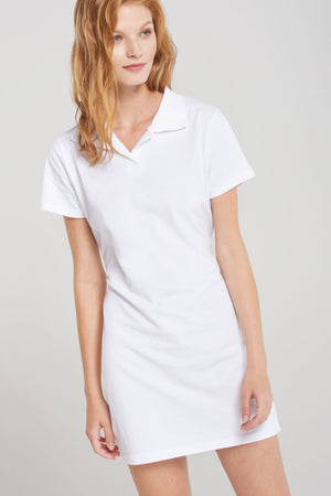 Basic Collared Tennis Dress - White