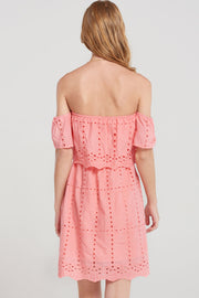 Dorothy Punched Eyelet Off Dress-2 Colors