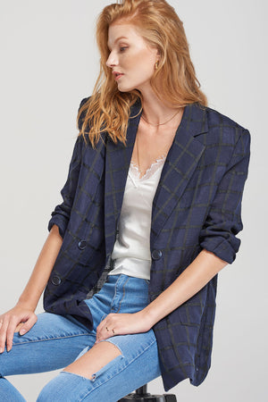 Miranda Grid Check Linen Jacket-Navy