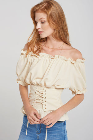 Alexis Corset Off Shoulder Blouse-Beige